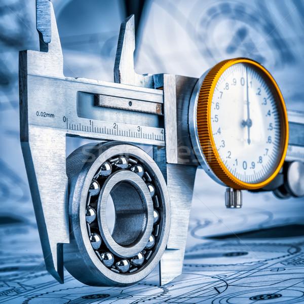 Ball bearings and Metal vernier caliper Stock photo © cookelma