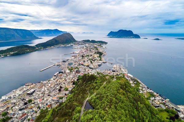 City of Alesund Norway Aerial footage Stock photo © cookelma
