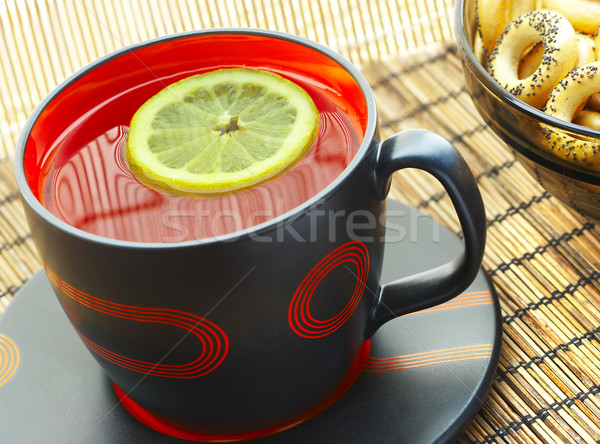 Tasse thé citron table eau fond Photo stock © cookelma