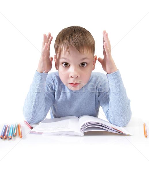 Chłopca książki za tabeli biały szkoły Zdjęcia stock © cookelma