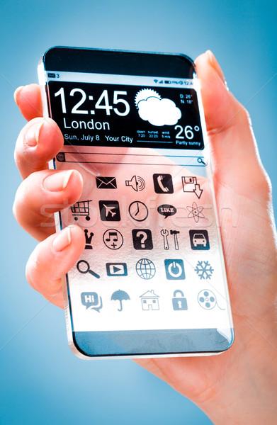 Transparente tela humanismo mãos futurista Foto stock © cookelma