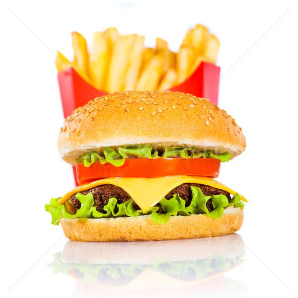 Sabroso hamburguesa blanco aislado alimentos Foto stock © cookelma