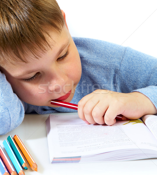 schoolboy with the book Stock photo © cookelma
