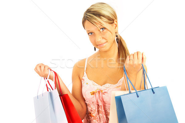girl with bags - comparison shopping. Sale! Stock photo © cookelma