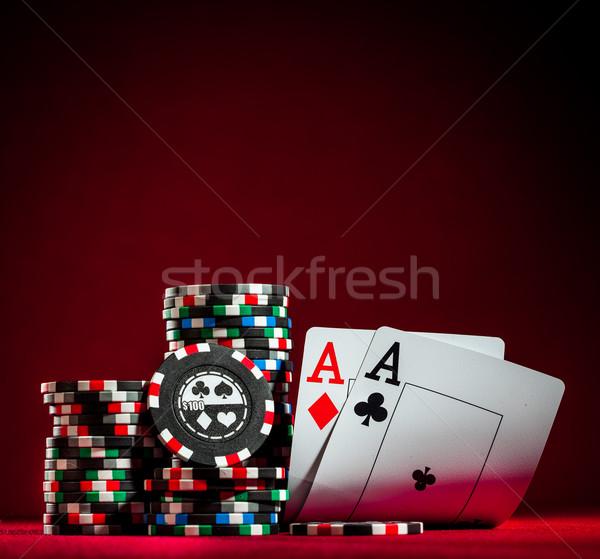 Due chip poker carte Foto d'archivio © cookelma