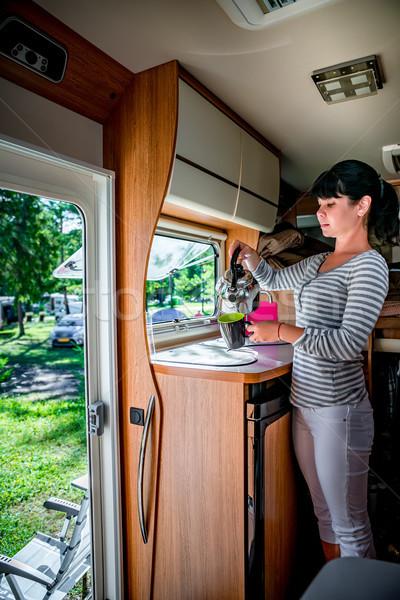 Nő főzés lakókocsi belső család vakáció Stock fotó © cookelma
