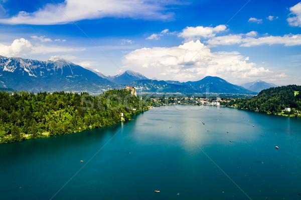 Slowenien Resort See Luftbild Himmel Wasser Stock foto © cookelma
