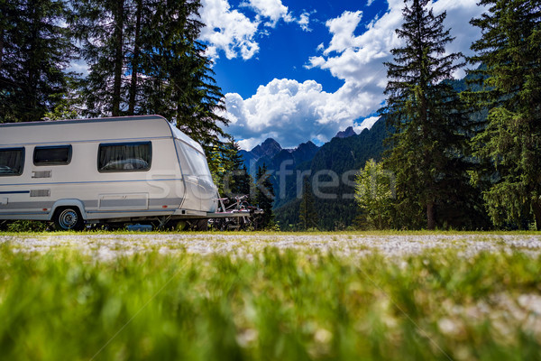 Family vacation travel, holiday trip in motorhome Stock photo © cookelma