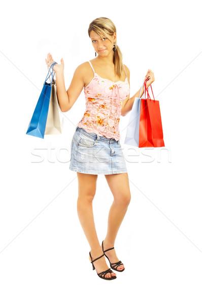 Confronto shopping ragazza borse vendita faccia Foto d'archivio © cookelma