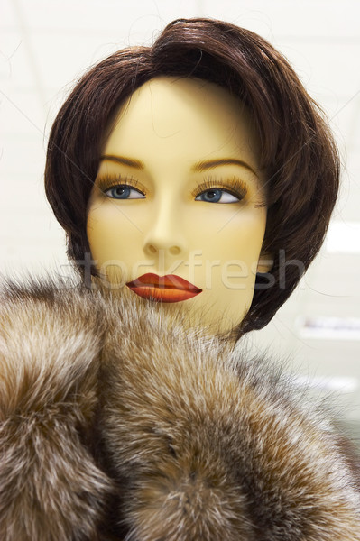 Mannequin in magozine on sale of the winter clothing Stock photo © cookelma