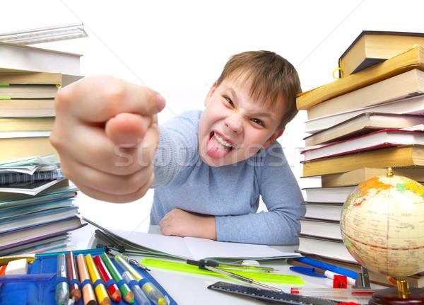 Zdjęcia stock: Chłopca · za · tabeli · książek · dzieci · książki