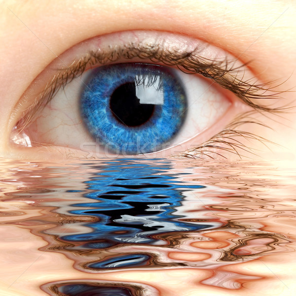 Human eye reflected in a surface of water  Stock photo © cookelma
