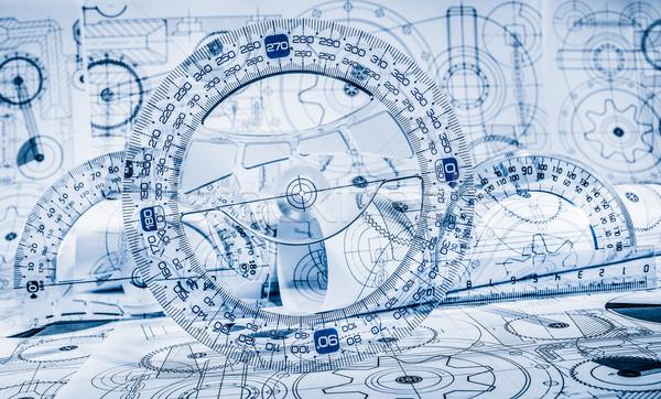 Technikai rajzok kék építkezés terv technológia Stock fotó © cookelma