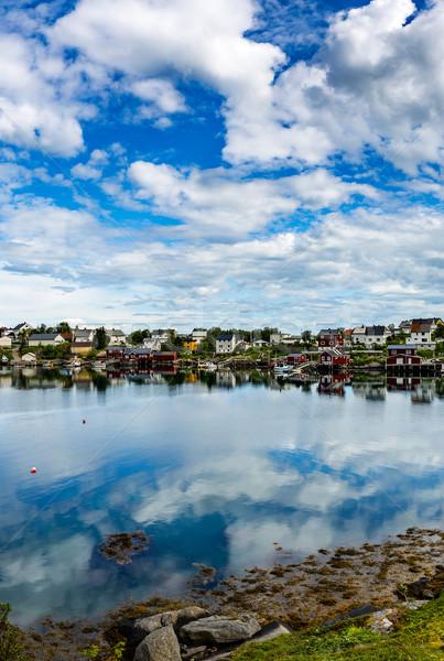 Archipiélago Noruega paisaje dramático montanas Foto stock © cookelma