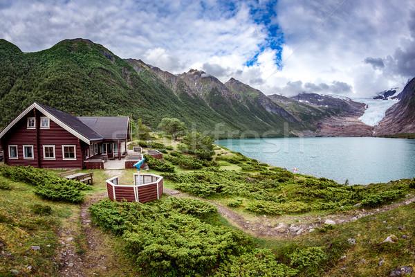 Glacier on the viewing platform. Svartisen Glacier in Norway. Stock photo © cookelma