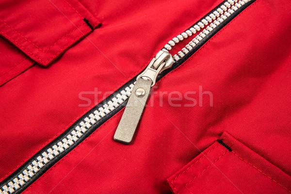 Közelkép cipzár piros terv szövet szín Stock fotó © cookelma
