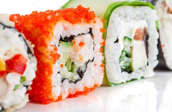 Sushi rolar branco saboroso comida peixe Foto stock © cookelma