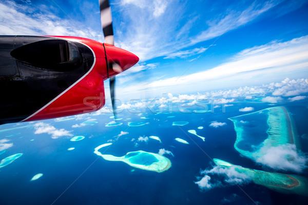 Maldivler Hint okyanus otel ada görmek Stok fotoğraf © cookelma