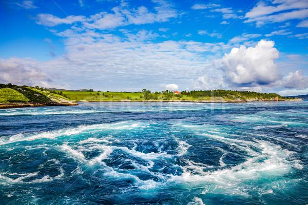 Norvégia víz természet óceán kék hullám Stock fotó © cookelma