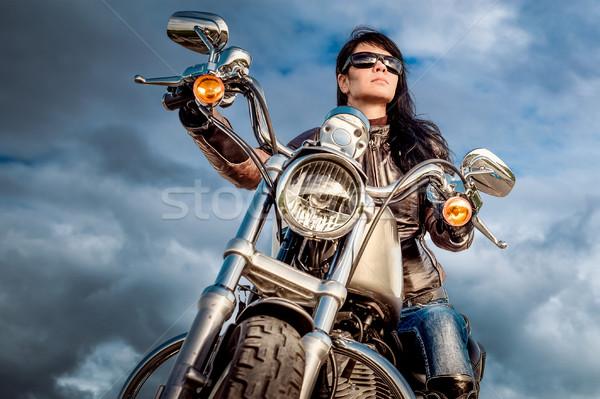 Biker girl on a motorcycle Stock photo © cookelma