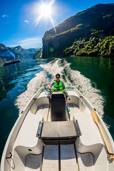女性 運転 モーターボート 美しい 自然 ビーチ ストックフォト © cookelma