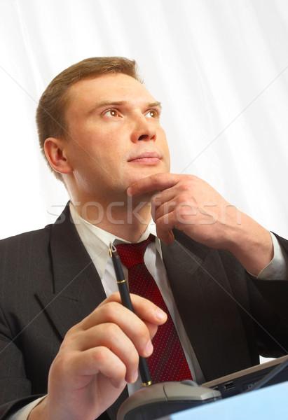 бизнесмен костюм за таблице мяча пер Сток-фото © cookelma