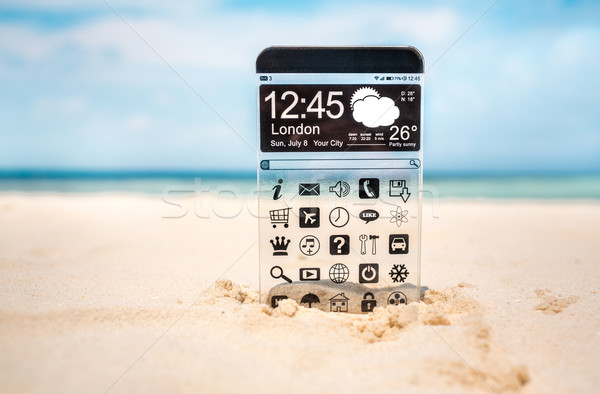 Smart phone with a transparent display. Stock photo © cookelma