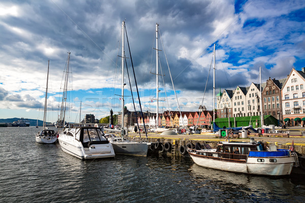 Bergen Norway Bryggen street Stock photo © cookelma