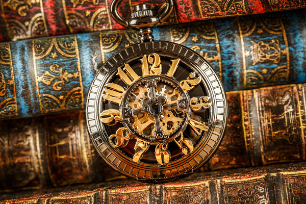 Old Books and Vintage pocket watch Stock photo © cookelma