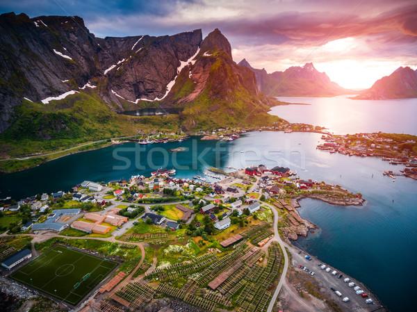 Szigetvilág szigetek légi fotózás Norvégia díszlet Stock fotó © cookelma
