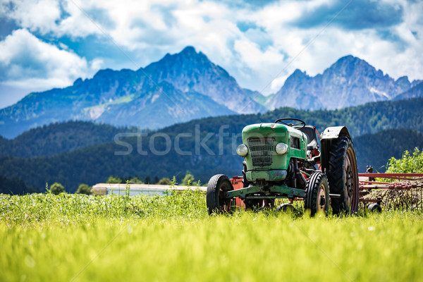 Vieux tracteur alpine printemps travaux Photo stock © cookelma