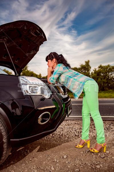 Schade voertuig problemen weg vrouw auto Stockfoto © cookelma
