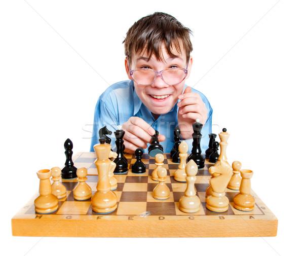 Inek öğrenci oynamak satranç beyaz eğlence gençlik Stok fotoğraf © cookelma