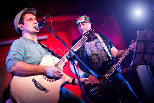 Müzisyen gitar karanlık kaya ses elektrik Stok fotoğraf © cookelma