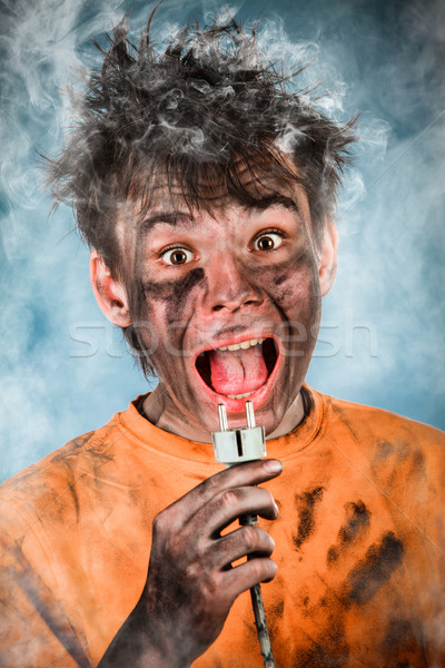 Elektrische schok jongen man kind haren Stockfoto © cookelma