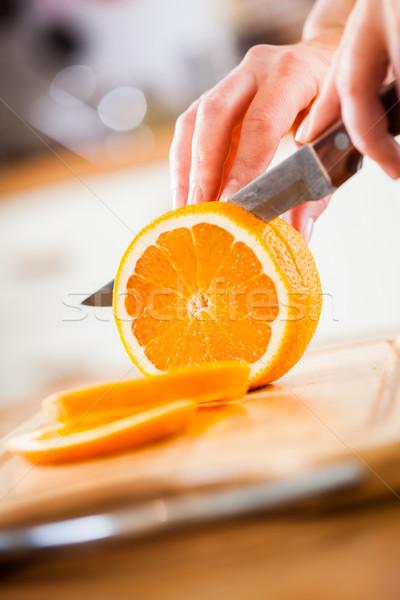 Foto stock: Manos · naranja · frescos · cocina · frutas