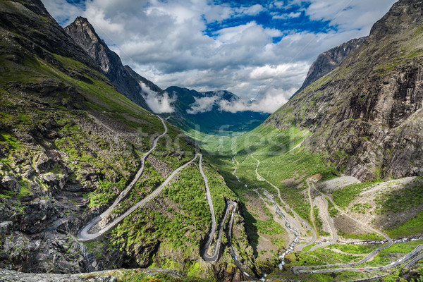 Troll's Path Trollstigen or Trollstigveien winding mountain road Stock photo © cookelma