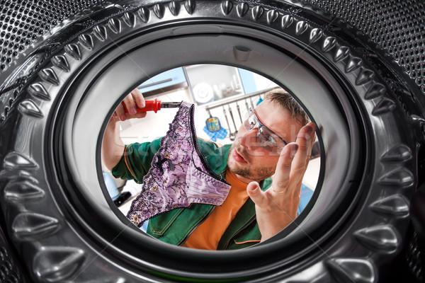 работник стиральная машина ремонта человека работу службе Сток-фото © cookelma
