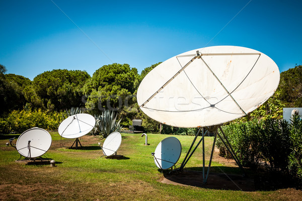 Satellite dishes on the nature Stock photo © cookelma