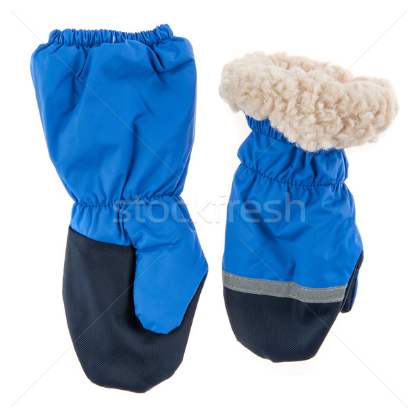 Children's autumn-winter mittens on a white background Stock photo © cookelma