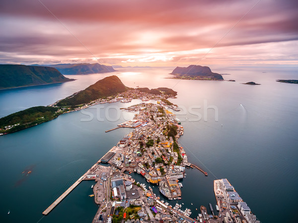 City of Alesund Norway Aerial footage Stock photo © cookelma