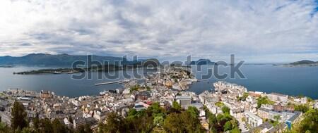 Ciudad Noruega panorama cielo calle verano Foto stock © cookelma