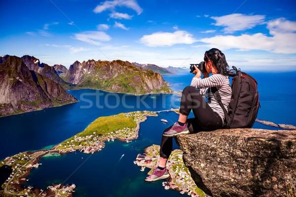 Doğa fotoğrafçı Norveç adalar turist kamera Stok fotoğraf © cookelma