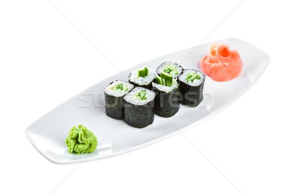 Stock photo: Sushi (Kappa maki roll) on a white background