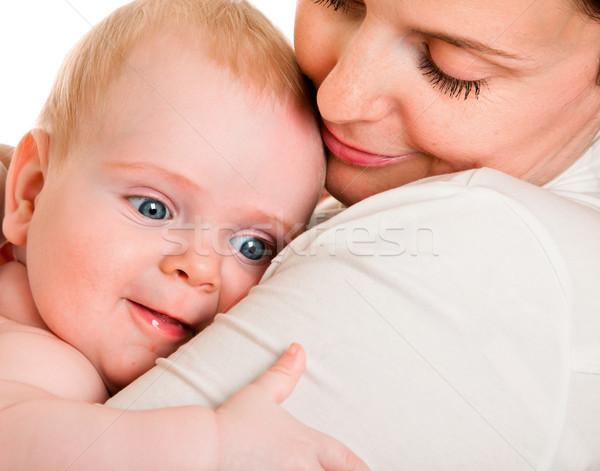Bebek omuz anne beyaz çocuk hayat Stok fotoğraf © cookelma