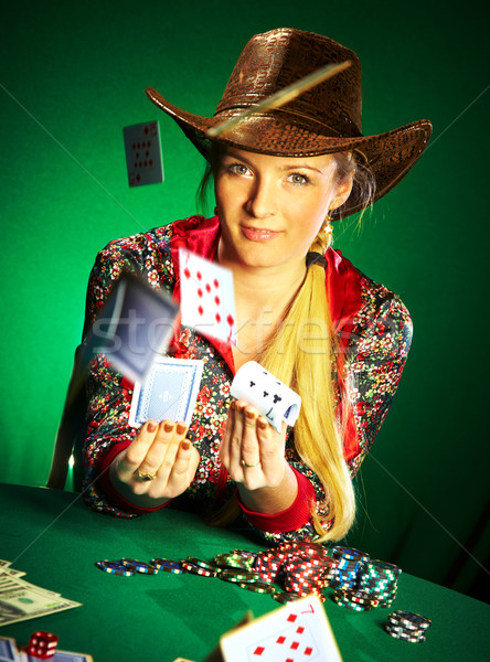 girl with a beard plays poker Stock photo © cookelma