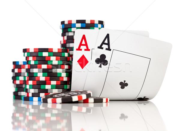 Puces deux isolé blanche cartes Photo stock © cookelma