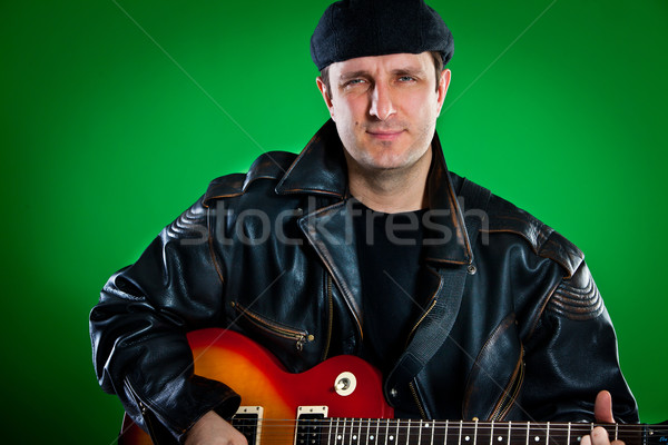Człowiek gitara zielone sztuki rock koncertu Zdjęcia stock © cookelma
