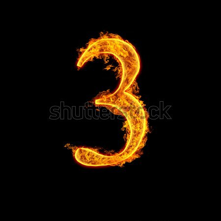 Stock photo: Fire alphabet number 3 three