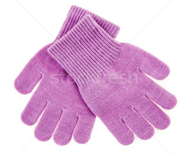 Trykotowy wełniany baby rękawice biały ręce Zdjęcia stock © cookelma